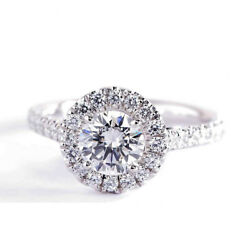 1.20 Carats Si2 F Coupe Ronde Vintage Diamant Halo Engagement Bague 18k-white Or