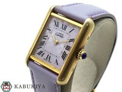 Must Tank W1017554 Yellowgold K18 Leather Ladies Watch From Japan[b0503]