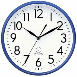 Wall Clocks Battery Operated 10 Inches Silent Non Ticking Quartz Navy Blue