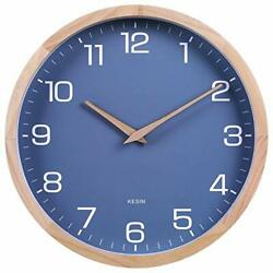 12 Inches Wood Blue Wall Clock Silent Round Modern Wall Clocks Battery