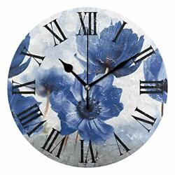 Blue Flowers Wall Clocks Battery Operated Silent Non Ticking Modern Round