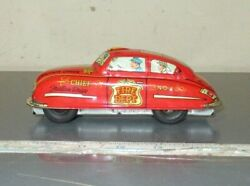 Vintage 1940's/50's Marx Tin Litho Friction Fire Chief Car