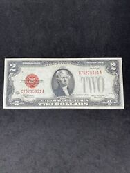 1928-d Two Dollar Bill, Jefferson Red Seal United States 2 Note Fr 1505