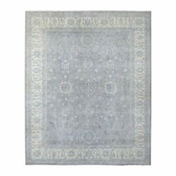 8and039x9and0399 Hand Knotted Light Gray Shiny Wool White Wash Peshawar Rug G67380