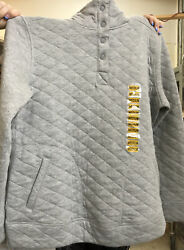MODERN CANVAS Grey QUILTED SNAP PULLOVER SWEATSHIRT Size M