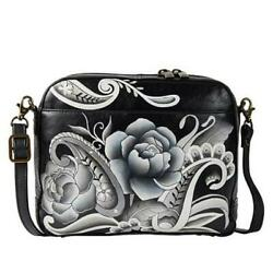 Anuschka Hand Painted Leather Crossbody Messenger in PEONIES AND PAISLEYS BLACK $209.90