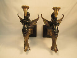 Bronze Winged Mermaid Art Deco Style Wall Candle Sconces Set Estate Sale Find