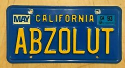 California Blue Vanity License Plate Abzolut Ca Absolutely Absolute Vodka