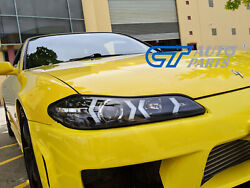 Black Led 3d Drl Bar Projector Head Lights And Led Indicators For Nissan S15 200sx