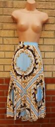 FLORENCE AND FRED BLUE GOLD BAROQUE PRINT PLEAT PLEATED A LINE MIDI SKIRT 20 GBP 17.99