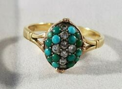Victorian18ct Gold Diamond And Turquoise Closed Back Mourning Ring Size N