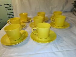 Vintage Texas Ware Melmac Saucer And Cup Set - 8 Cups 8 Saucers - Mcm Yellow