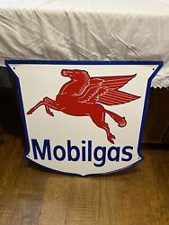 Vintage Mobilgas Metal Enameled Double Sided Sign Licensed By Mobil Oil Corp L.9