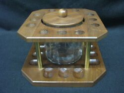 12 Pipe Holder Pipe Stand With Aztec Glass Humidor Vintage Mint