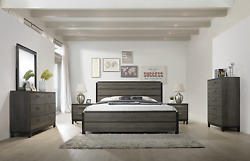 Roundhill Furniture Ioana 187 Antique Grey Finish Wood Bed Room Set Queen Size