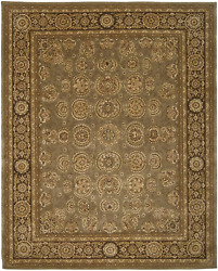 Nourison Nourison 2000 Green Brown Rectangle Area Rug 9-feet 9-inches By 13-fee