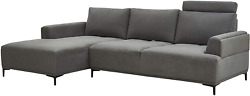 Modern Sectional Lucca Sectional Sofa With Push Back Functional Left Facing Gre