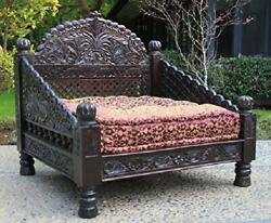Worldcraft Industries Wooden Carved Jhula Day Bed Handcrafted From Solid Indian