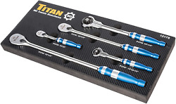 Titan 12175 5-piece 90-tooth Swivel Head And Flat Head Ratchet Set. Pack Of 4