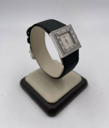 And Co Atlas Collection 18k White Gold Diamond Satin Black 21mm Watch