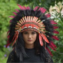 Indian Headdress Warbonnet Small Red Feather Swan Black Fur Hat Native American