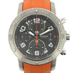 Auth Hermes Watch Clipper Diver Chronograph Cp2.941 Ss Orange Rubber Automatic