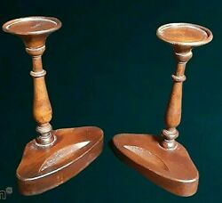 Mottahedeh Museum Reproductions Wooden Candle Holders Vintage Wood
