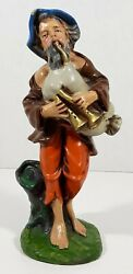 Vintage Fontanini Paper Mache 8 Shepherd With Bagpipes Nativity Italy