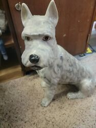 Vintage Large Hand Painted Schnauzer Dog 17-1/4 Made In Italy