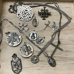 Vintage Religious Jesus Sterling Silver Brooch Pin Pendant Chain Lot