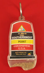 Vintage Key Chain Fob Advertising Key West Florida Southermost Point With Sand
