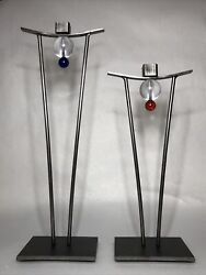 Vintage Signed Girardini Design 1997 Steel And Glass Sculpture Large And Small Pair