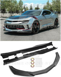 For 16-18 Camaro Rs | Zl1 Style Carbon Fiber Front Lip Splitter And Side Skirts