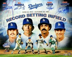 Garvey Lopes Russell And Cey Signed Dodgers Record Setting 16x20 Photo Tristar