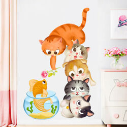 Cartoon Cat Wall Stickers PVC Removable Kids Room Wall Door Decor Nursery House