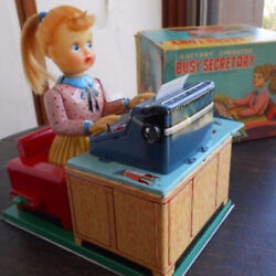Vintage Nomura Toy Typewriter Busy Secretary Tinplate Woman Toy With Box