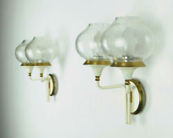 Fantastic Pair Of 1960s Mid Century Wall Lamps Metal Brass Crackle Glass Shades