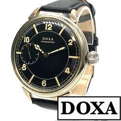 Doxa Dial With Deformed Aircraft Military 1940s Wwii Wristwatch Used