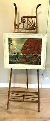 Vintage Ball and Stick Art Easel 1900#x27;s Oak Victorian Artwork Stand