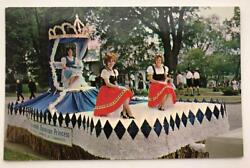 Bavarian Princess Float Real Photo Postcard Frankenmuth Mi 1967 Queen And Court