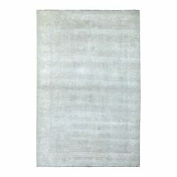6'1x9' Hand Knotted With Faded Colors White Wash Peshawar Shiny Wool Rug G67500