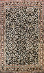 Antique Navy Blue Floral Traditional Area Rug Low Pile Handmade Oriental 10x13