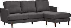 Brand Andndash Rivet Goodwin Modern Reversible Sectional Sofa Couch 88.6w Charcoal