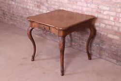 Baker Furniture French Provincial Louis Xv Carved Oak Leather Top Game Table
