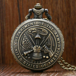 Menand039s Quartz Pocket Watch Chain United Army Pattern Case Full Hunter Casual Gift