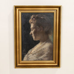 Original Oil On Wood Board Portrait Of Woman In White Lace Signed Han Michael T