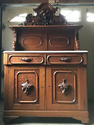 Victorian Antique Eastlake Walnut Sideboard Buffet Cabinet With Marble Top