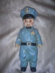 Vintage 1949 Dh Lee Co Route 66 Gas Attendant Boy/man Cast Iron Coin Bank Heavy