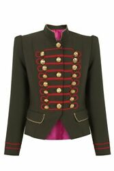 2021 New Womenand039s Green And Red Trim Gold Buttons Military Jacket Fast Shipiping