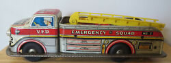 Vintage Marx Tin Battery Operated Vfd Emergency Squad Fire Truck 2